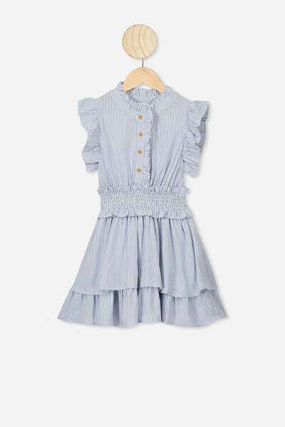 Addie Sleeveless Dress, VANILLA/RETRO BLUE STRIPE