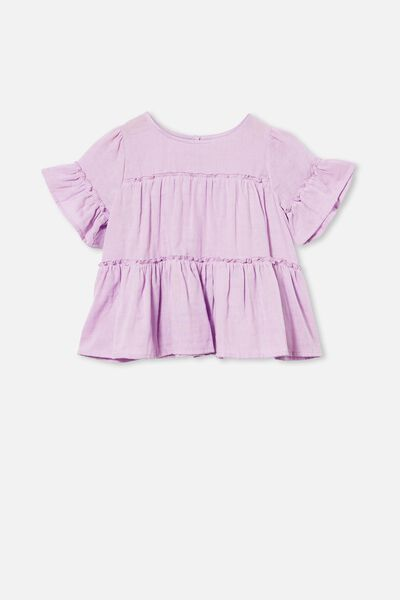 Frede Short Sleeve Frill Top, PALE VIOLET