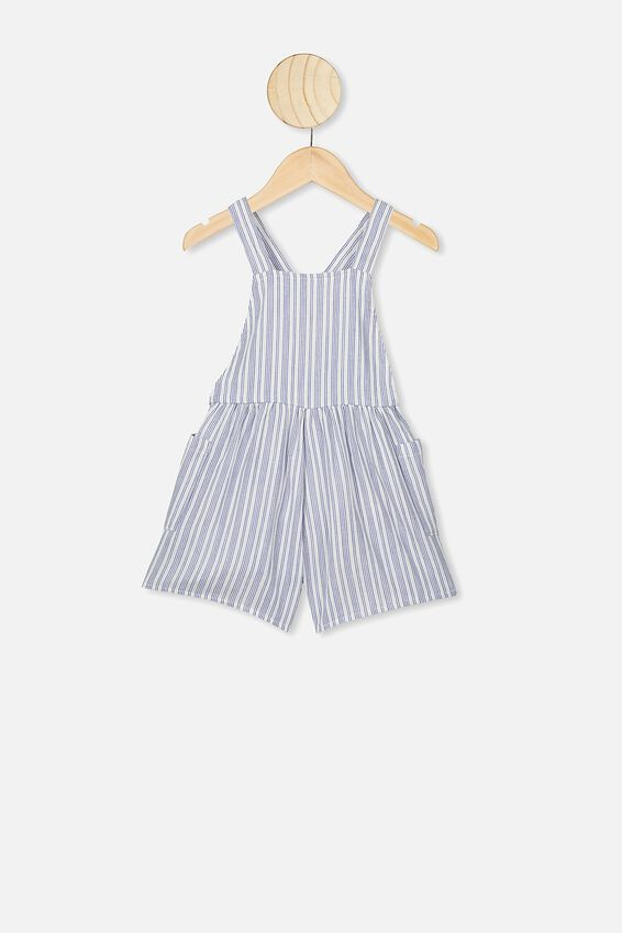 Tilly Playsuit, VANILLA/RETRO BLUE STRIPE