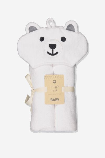 Baby Snuggle Towel, WHITE BEAR