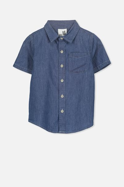 Jackson Short Sleeve Shirt, BLUE CHAMBRAY