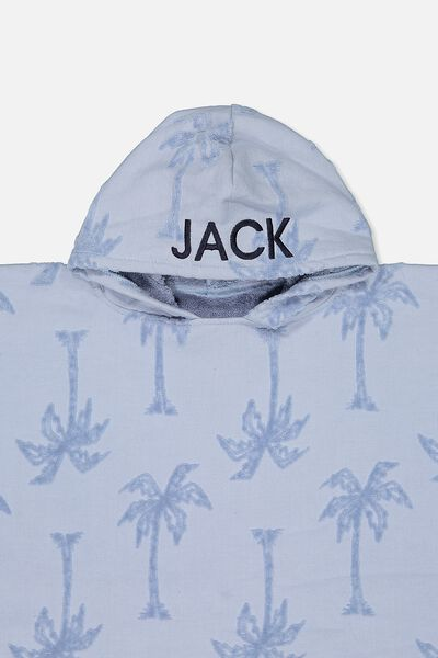 Personalised Hooded Towel, PALM TREE BLUE
