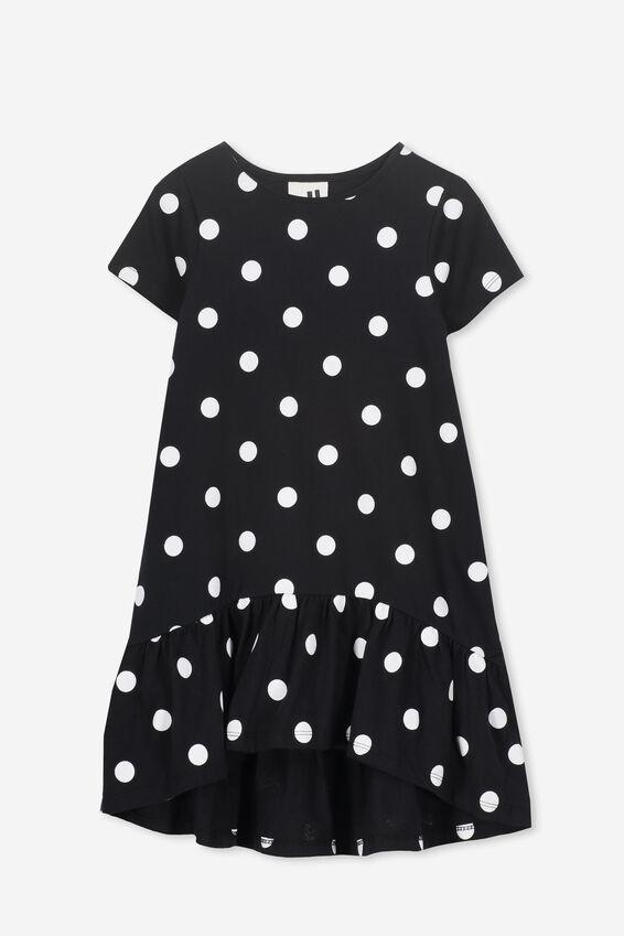 Joss Short Sleeve Dress, BLACK/WHITE POLKA DOT