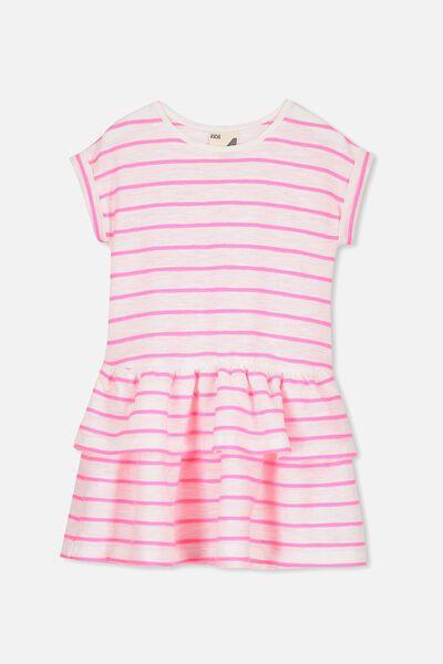 Alba Short Sleeve Dress, VANILLA/ELECTRIC PINK STRIPE