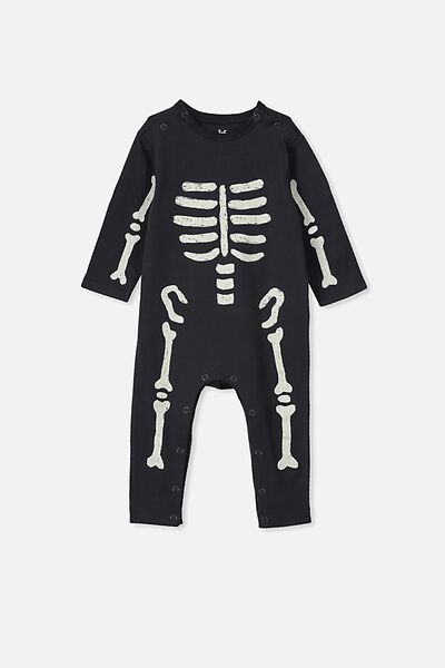 Regan Long Sleeve Snap Romper, BLACK/SKELETON