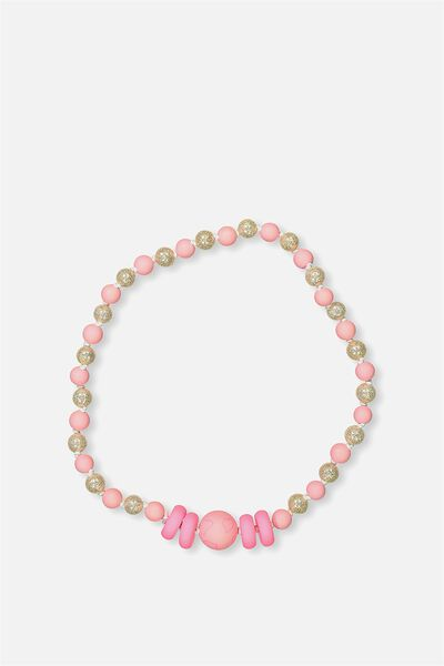 Mixed Beaded Necklace, PINK HEARTS