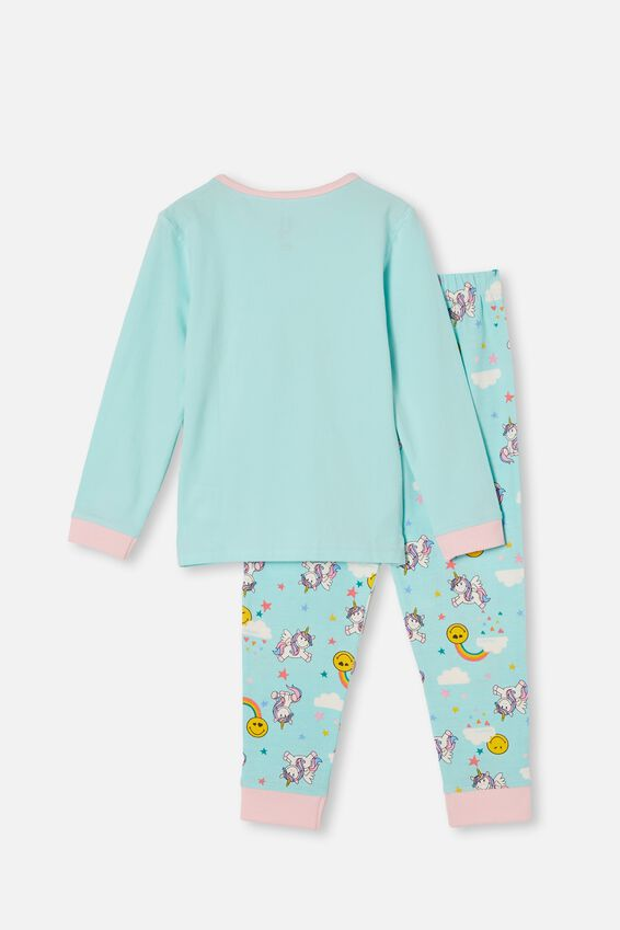 Florence Long Sleeve Pyjama Set Licensed, LCN SMILEY UNICORNS DREAM BLUE