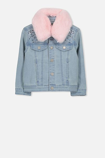 Dolly Faux Fur Denim Jacket, BLEACH WASH/SEQUIN