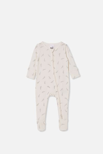 Organic Newborn Zip Through Romper, MILK/SILVER FERN