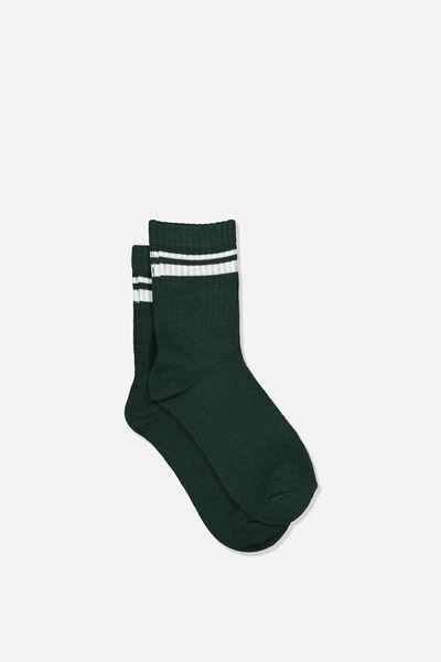 Retro Rib Crew Sock, SCOUT GREEN