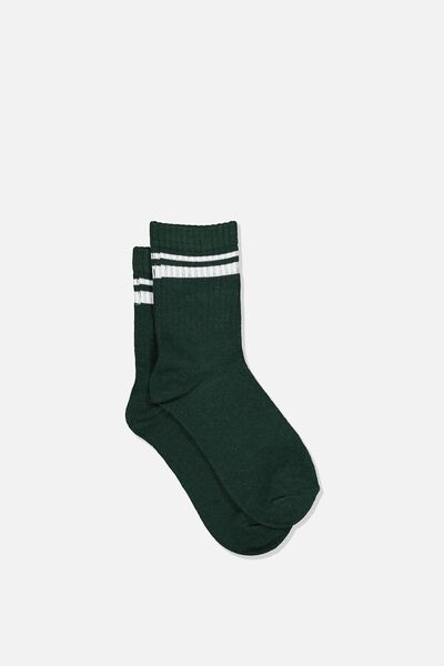 Retro Rib Crew Sock, SCOUT GREEN
