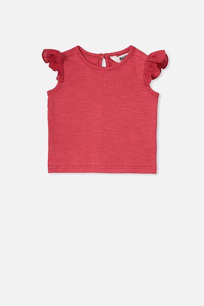 Matilda Flutter Sleeve Top, LUCKY RED