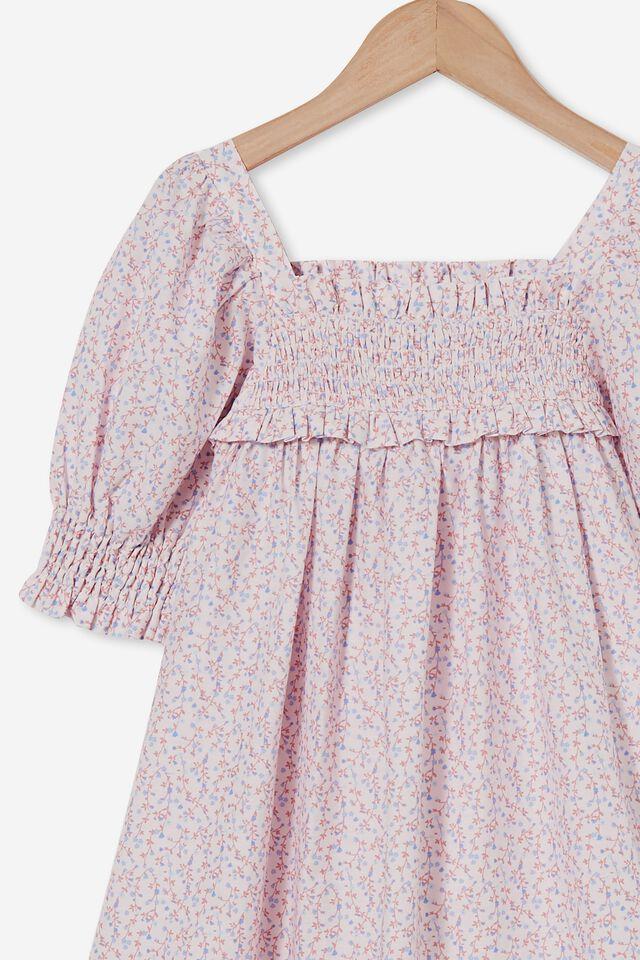Lana Short Sleeve Dress, CRYSTAL PINK/SIERRA TINY FLORAL