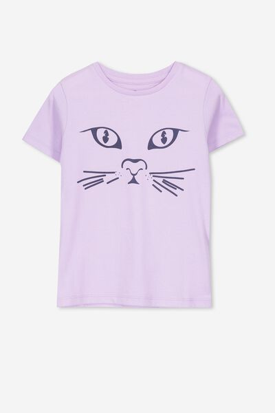 Penelope Short Sleeve Tee, BABY LILAC/CAT FACE/MAX
