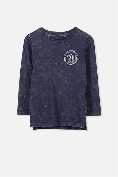 Tom Long Sleeve Tee, WASHED NAVY SFW LIFE IS GOOD/SIS
