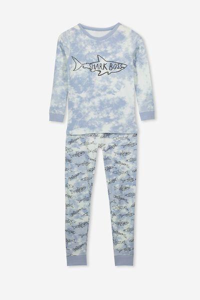 Ethan Long Sleeve Boys Pyjama Set, SHARK BOSS