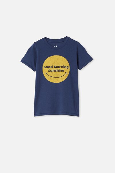 Max Short Sleeve Tee, INDIGO / GOOD MORNING SUNSHINE