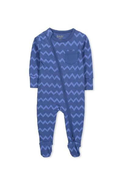 Mini Zip Through Romper, WATERBLUE/OSAKA ZIG ZAG