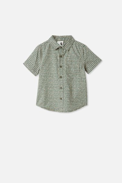 Resort Short Sleeve Shirt, DITSY GEO/SWAG GREEN