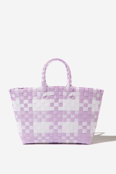 Woven Tote Bag, LILAC/WHITE CHECK