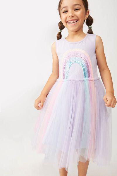 Iris Tulle Dress, SMOKEY LILAC/RAINBOW HORIZON