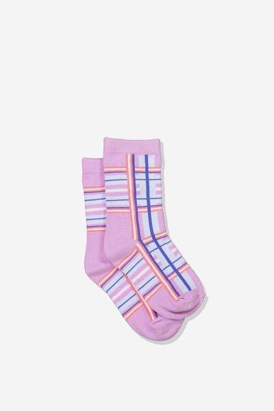 Fashion Kooky Socks, LILAC TARTAN