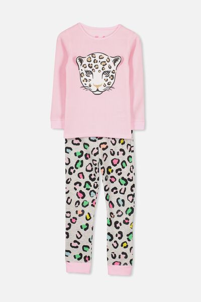 Shae Girls Long Sleeve Waffle Pyjama Set, RAINBOW LEOPARD