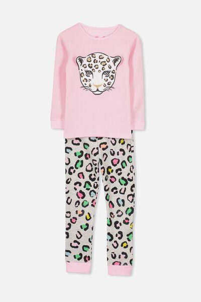 Shae Girls Long Sleeve Waffle Pyjama Set, RAINBOW LEOPARD