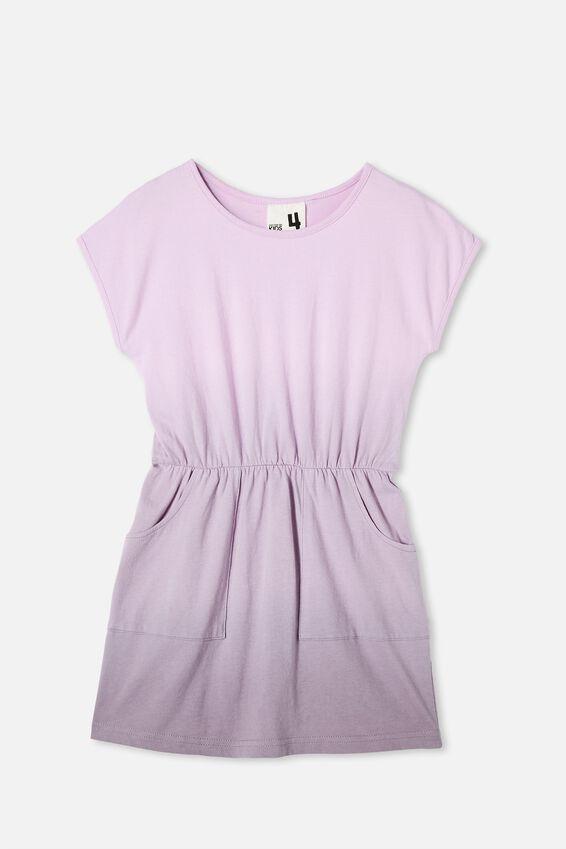Sigrid Short Sleeve Dress, PALE VIOLET/DUSK PURPLE DIP DYE