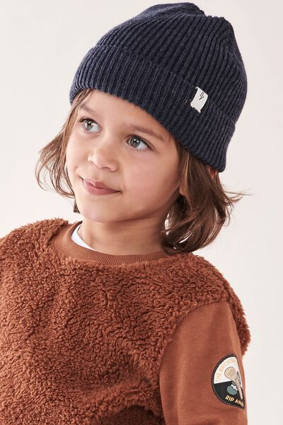 Winter Knit Beanie, NAVY FISHERMAN