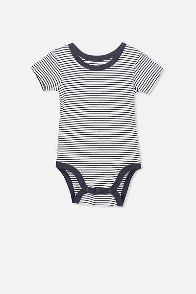 Newborn Short Sleeve Bubbysuit, INDIAN INK STRIPE
