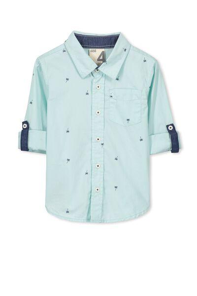 Noah Long Sleeve Shirt, DUSTY AQUA/PALMS