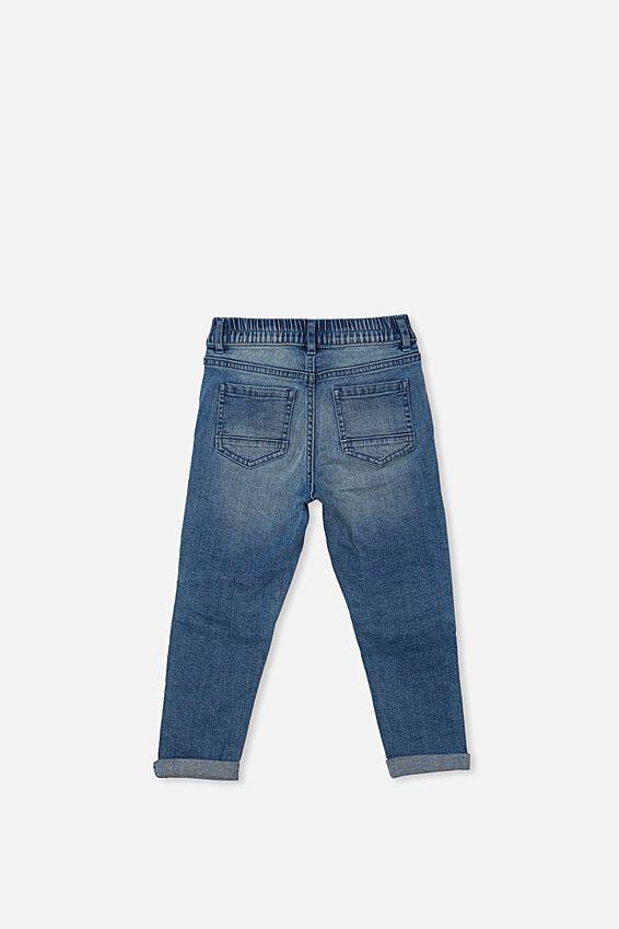 Biker Moto Jeans, ALASKIN MID BLUE WASH