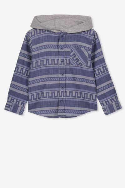 Harrison Hooded Long Sleeve Shirt, TEXTURED