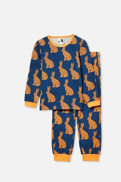 Noah Long Sleeve Pyjama Set, LINOCUT BUNNY/PETTY BLUE
