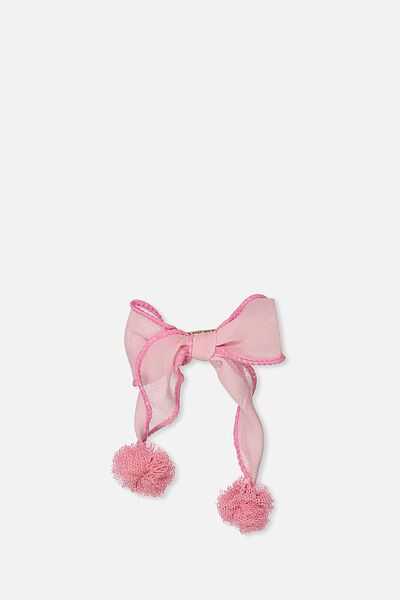 Dress Up Hair Clip, TULLE BOW/POM POM