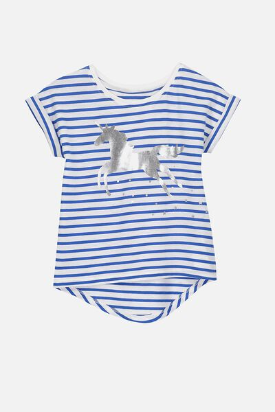 Penelope Short Sleeve Roll Up Tee, VANILLA/PRINCESS BLUE STRIPE LEAPING UNICORN