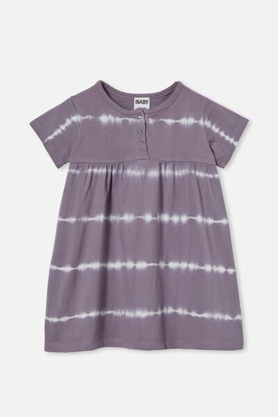 Kendall Short Sleeve Dress, DUSK PURPLE LINEAR TIE DYE