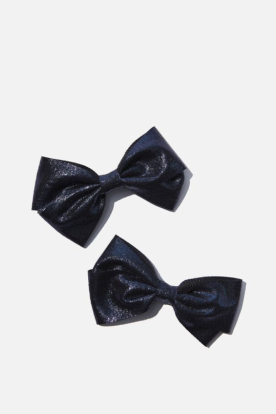 Big Bow Clips, NAVY SHIMMER
