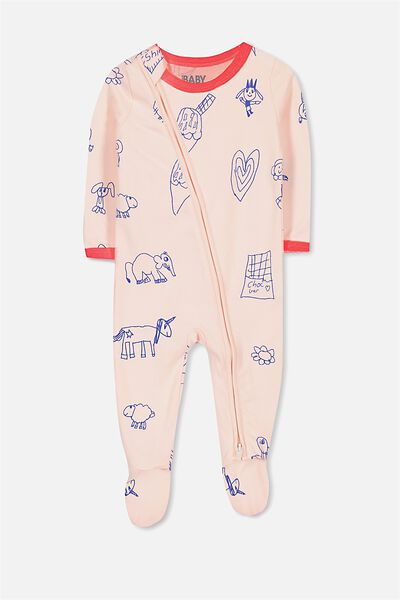 Sleep Mini Zip All In One Jumpsuit, SHELL PEACH/SKETCHY