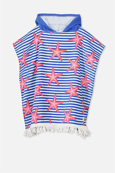 Kids Hooded Towel, STRIPED STARFISH
