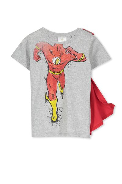 Boys The Flash Short Sleeve Cape Tee, LT GREY MARLE/THE FLASH