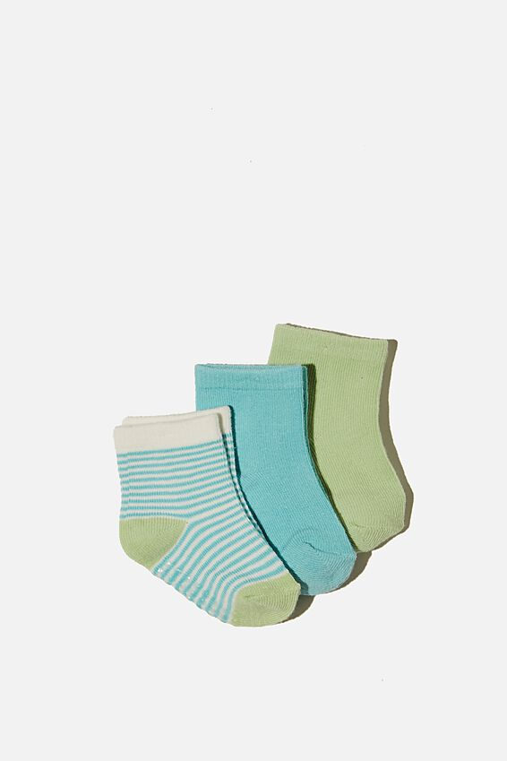 3Pk Baby Socks, DUCK EGG/SPEARMINT STRIPE