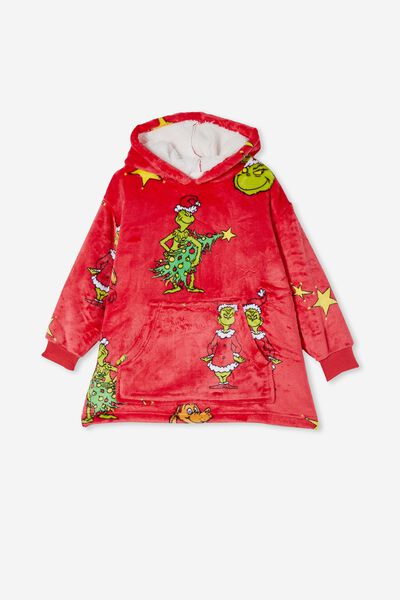 Snugget Kids Oversized Hoodie Licensed Northern, LCN DRS GRINCH XMAS TREE LUCKY RED