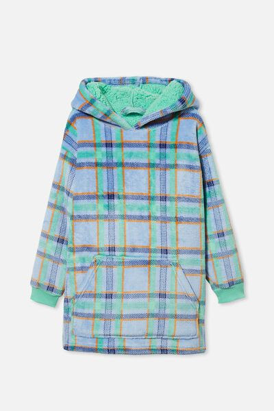 Personalised Snugget Kids Oversized Hoodie, CHOCOLATE THEIF/MINT BREEZE