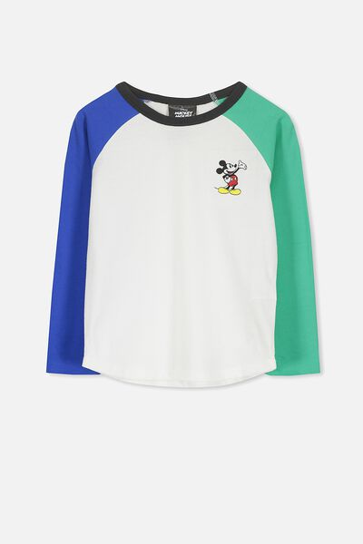 License Long Sleeve Tee, BLUE AND GREEN RAGLAN MICKEY