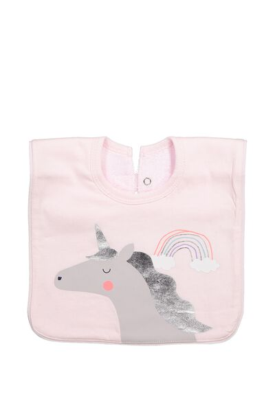 Hansel And Gretel Babies Bib, BUBBLEGUM PINK/UNICORN RAINBOW