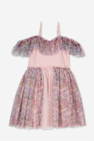 Iris Tulle Dress, DUSTY PINK/SWEET TEA