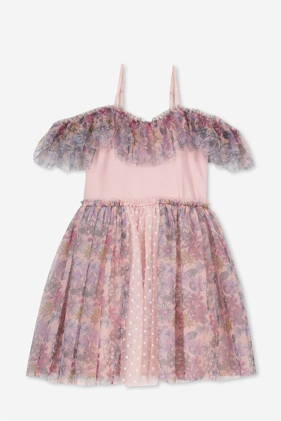Iris Tulle Dress, DUSTY PINK/SWEET TEA