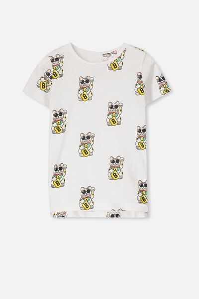 Max Short Sleeve Tee, SIS/WHITE CAT REPEAT